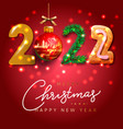 merry christmas and happy new year 2022 greeting vector image vector image