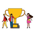 people with trophy success winner vector image vector image