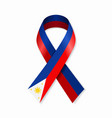 philippines flag stripe ribbon on white background vector image vector image