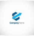 polygon arrow 3d company logo vector image