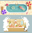 sauna and swimming pool flat spa relax or vector image vector image