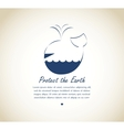 save earth whale on retro background vector image vector image