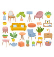 scandinavian furniture isolated cozy home vector image vector image