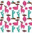 seamless pattern with llama in sombrero cactus vector image vector image