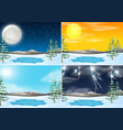 set of winter outdoor scene vector image vector image