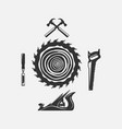 set woodwork logo with hammer and nail vector image