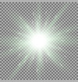 shining star on transparent background green color vector image vector image