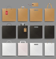 shopping bag mockup set design square and vector image vector image