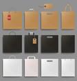 shopping bag mockup set design square and vector image