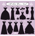 Silhouette of black party dressesaccessories kit vector image