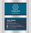simple blue theme business name card template vector image