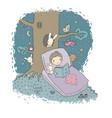 sleeping boy bain bed with toys time to sleep vector image vector image