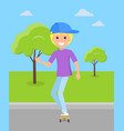smiling blond boy ride on skateboard at skatepark vector image vector image