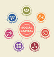 social capital concept with icons and signs vector image vector image
