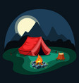 tent at night in camp red on green vector image