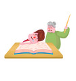 the pupil boy fell asleep on the book and the old vector image vector image
