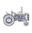 vintage agricultural tractor sketch hand drawn vector image