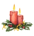 Watercolor red candle and fir branches with vector image vector image