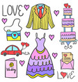 wedding element style in doodle collection vector image vector image