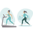 young woman jogging in gym and outdoors vector image