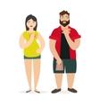 Fat Man and Woman Unhealthy Food vector image