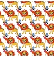 Cute floral seamless pattern with wild cute lion vector image