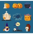 Halloween Characters Cartoon Icons Set vector image