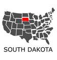 state of south dakota on map of usa vector image