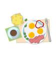 a a tasty breakfast in gentle tones coffee fried vector image vector image