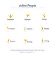 active people creative symbols set font concept vector image vector image