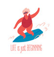 an old woman rides surfing board vector image vector image