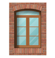 arched window in brick wall vector image vector image