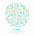 arthritis concept in circle with thin line icons vector image vector image