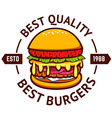 Best burgers Hamburger isolated on white vector image