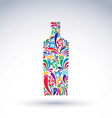 Bright flowery alcohol bottle Stylized glassware vector image vector image