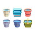 buckets set metal and plastic bucket volumetric vector image vector image