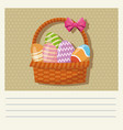 cartoon basket egg easter celebration vector image vector image