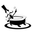 cartoon long mustache man takes a bath and cigar vector image