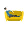 cartoon man sitting at sofa resting vector image vector image