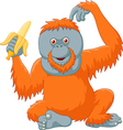 Cartoon orangutan eating banana isolated vector image vector image