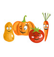 cartoon vegetable cute characters face vector image