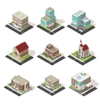 City Buildings And Roads Isometric Set vector image vector image