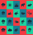 climate icons set with cloud sunshine weather vector image vector image