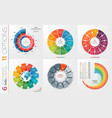 collection of 6 circle chart templates 11 vector image vector image