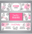 cupcake banners with handdrawn cupcakes and pink vector image vector image