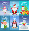 cute christmas cards with funny characters vector image