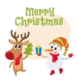 Dnowman in hat and mittens with Christmas reindeer vector image vector image