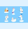elderly male angel character in different vector image vector image