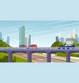elevated road junction and interchange overpass vector image vector image