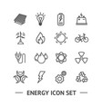 Energy signs black thin line icon set
